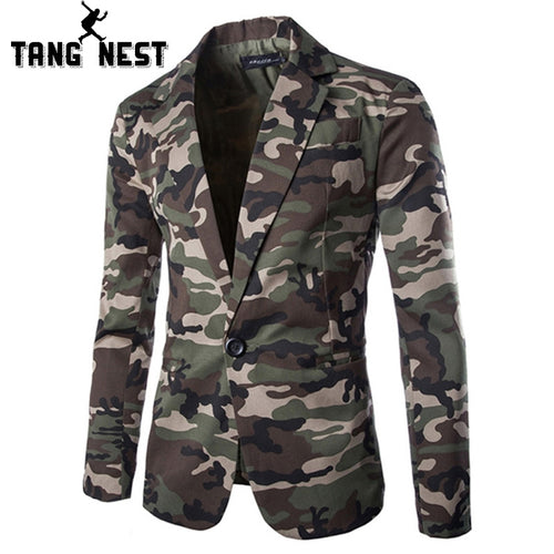 TANGNEST Camouflage Color New Design Spring Autumn Men Casual Blazer Hot Sale Fashion One Button Asian Size Suits MWX309