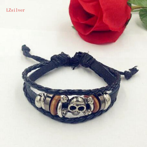 Hot ! 12pcs  New Fashion Alloy Skull Beaded style Cowhide Adjustable bracelett B-25