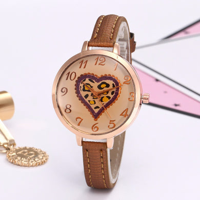 Fashion Watches Women's Heart Pattern Faux Leather Band Quartz Analog  #905