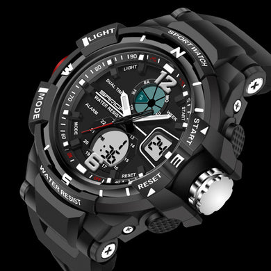 New Sport Waterproof Mens LCD Digital Analog Quartz Date Alarm Wrist Watch