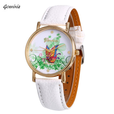 Genvivia Montres Femmes Fashion Leather Band Analog Quartz Vogue Wrist Watches For Women