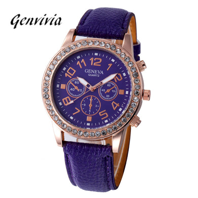 Genvivia Life Waterproof Watch Ladies Business Faux Leather Analog Quartz  8 Colors