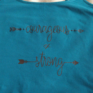 Women's Racerback Tank Top COURAGEOUS AND STRONG
