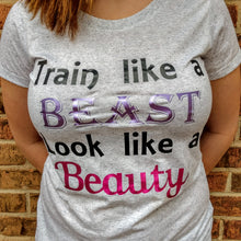 Women's Short Sleeve Scoop Neck Tee TRAIN LIKE A BEAST LOOK LIKE A BEAUTY