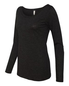 Women's Long Sleeve Scoop Neck Tee MESSY BUN AND GETTING IT DONE