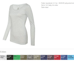 Women's Long Sleeve Scoop Neck Tee COURAGEOUS AND STRONG