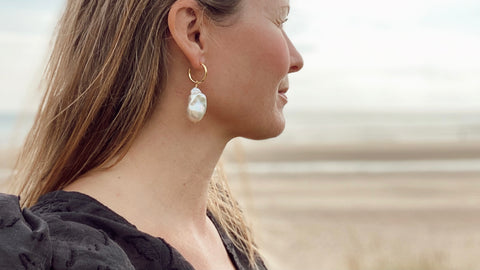 The RAW Copenhagen Femme Fatale Pearl Earrings featuring the most beautiful grade AAA baroque freshwater pearls, serious statement earrings for a night our, for the bride at a wedding, to to spice up your jeans outfit