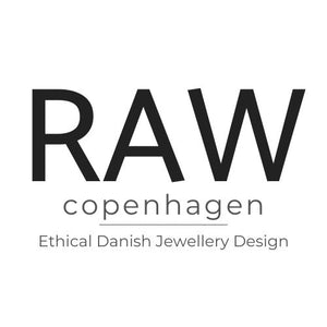 RAW Copenhagen Jewellery Logo, RAW Copenhagen specialises in Scandi minimalist and sustainable jewellery pieces using primarily recycled eco sterling silver, fair mined gold and ethically sourced gemstones