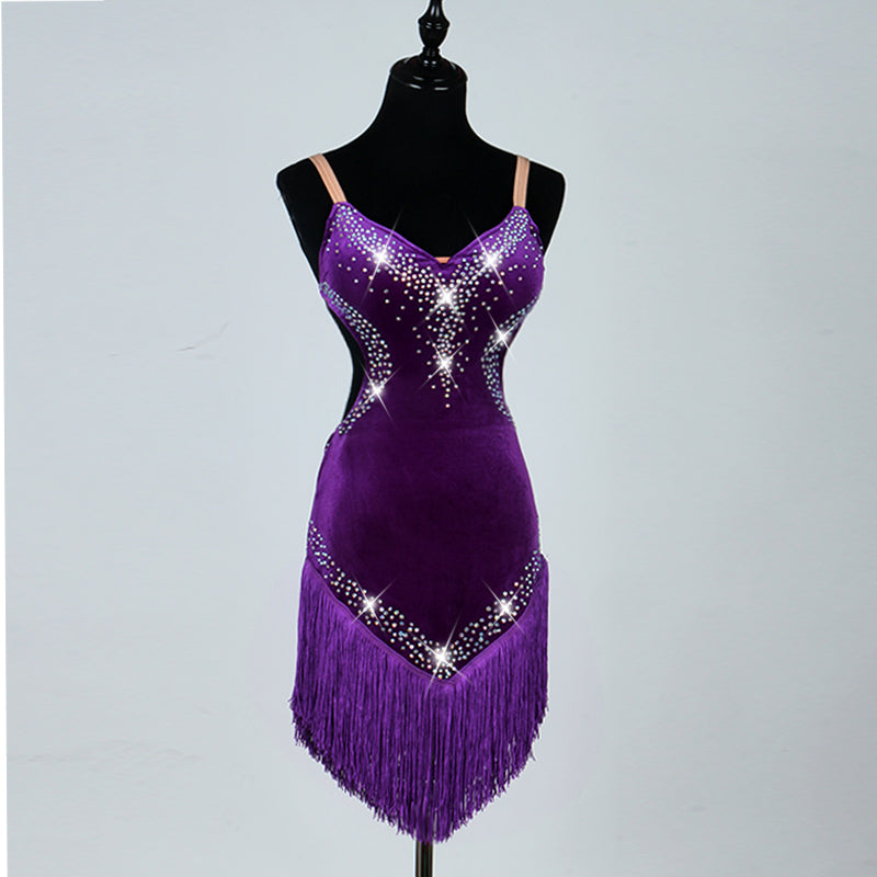 12689ee551e ... 11 colours High Quality Latin Dance Dresses For Ladies Custom-made  Diamonds Tassel Skirts Wear ...
