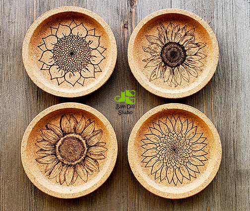 Sunflowers Cork Coaster Set