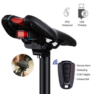 Wireless Anti-theft Remote Control Alarm Bike Bell Taillight