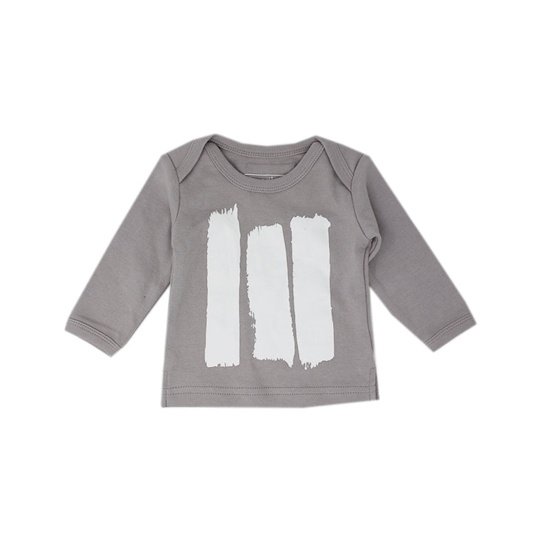 Light Gray Brush Strokes Long Sleeve Tee