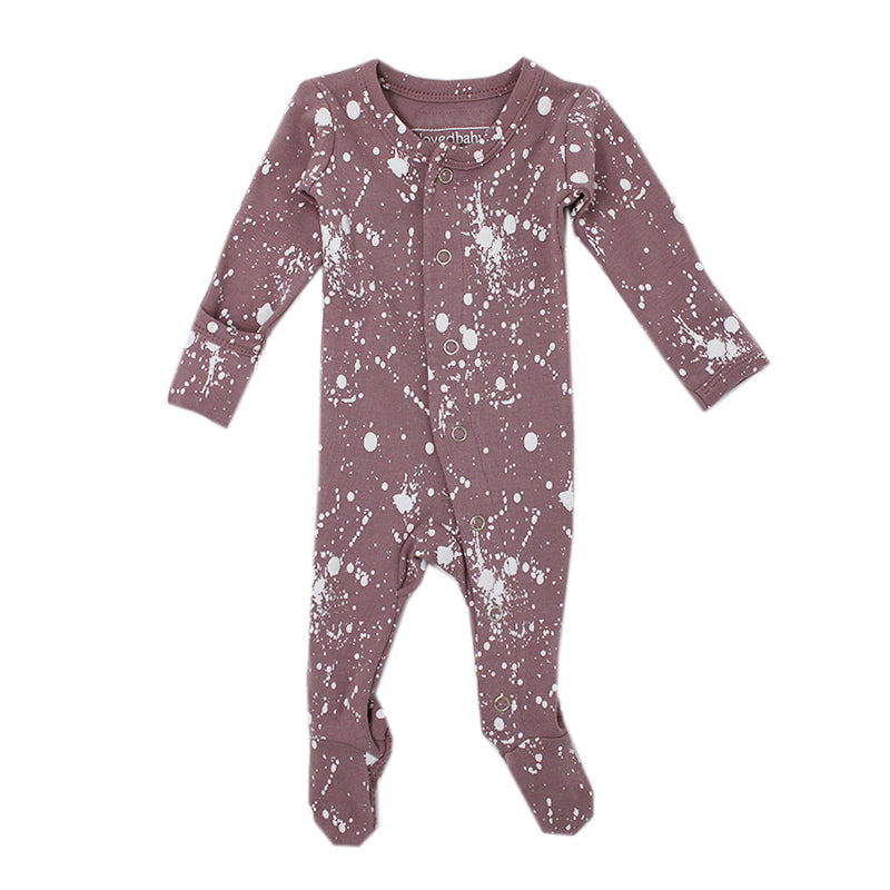 Lavender Splatter Footed Overall