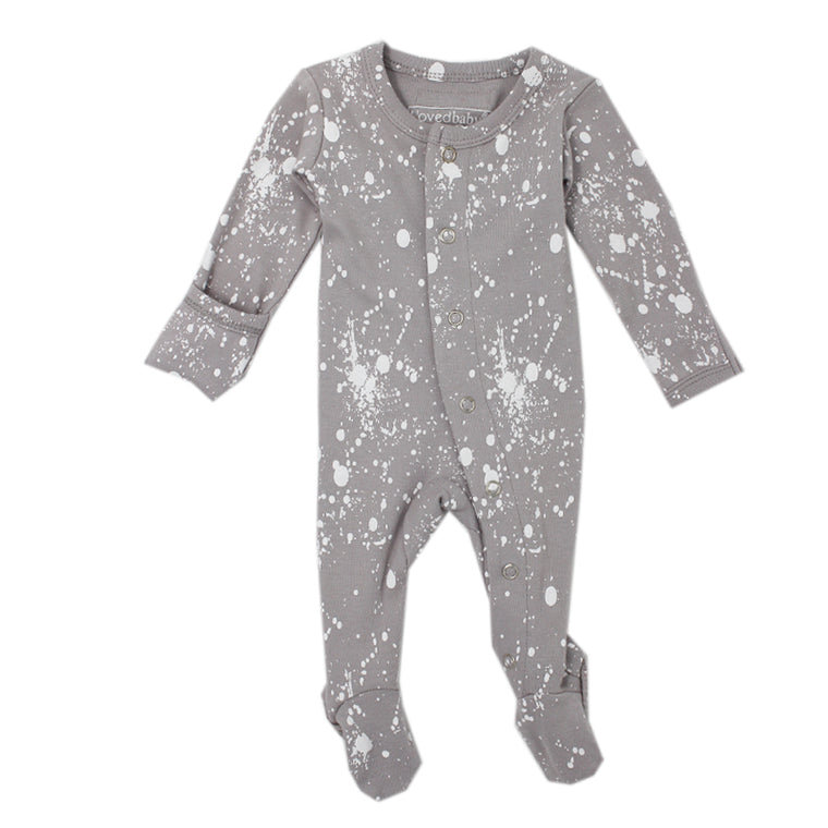 Light Gray Splatter Footed Overall