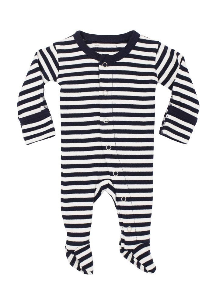 Navy/White Organic Footed Overall