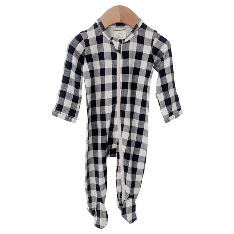 Black Plaid Basic Zipper Footie
