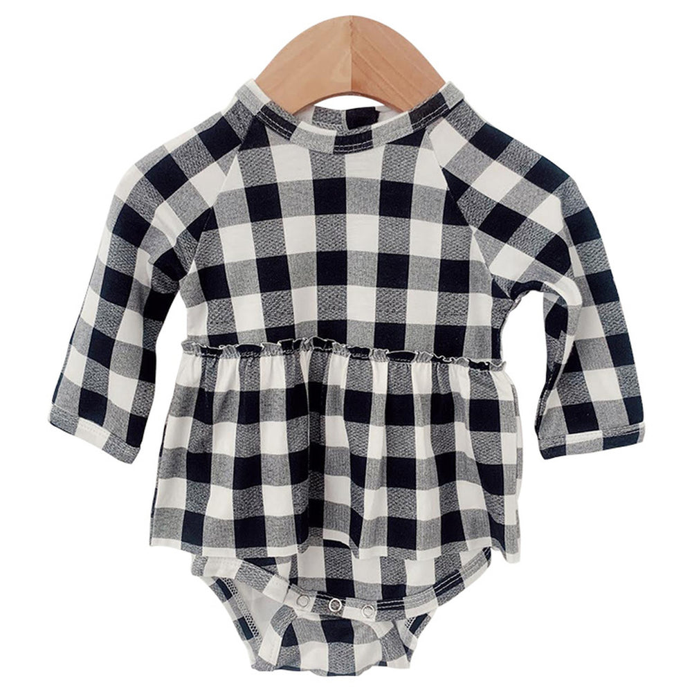 Black Plaid Long Sleeve Skirted Bodysuit