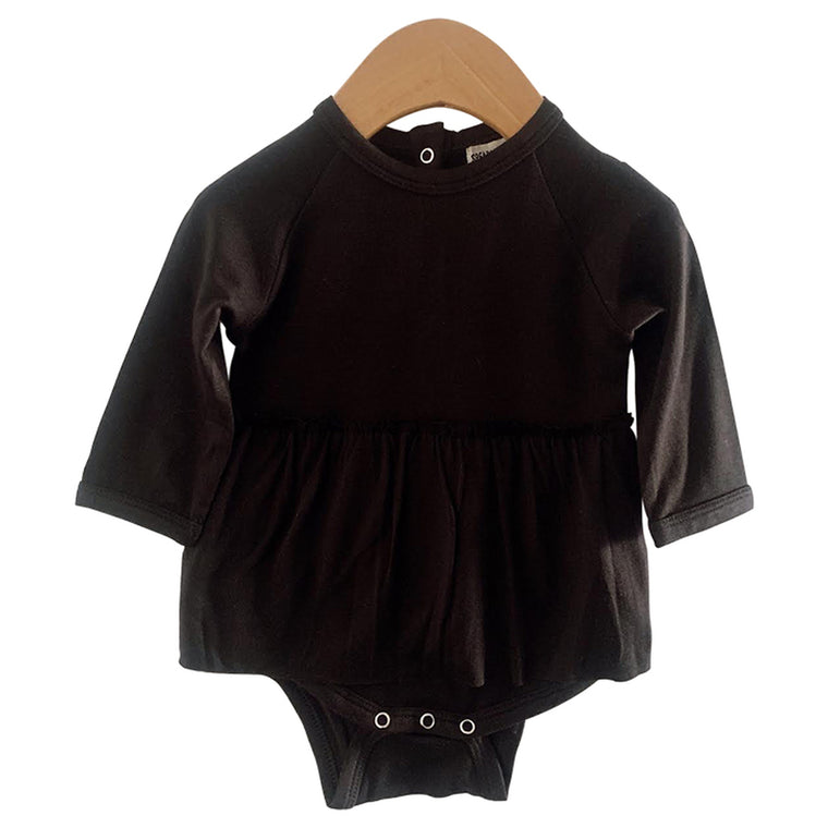 Black Skirted Long Sleeve Bodysuit