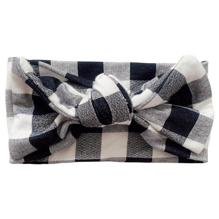 Black Gingham Knot Bow
