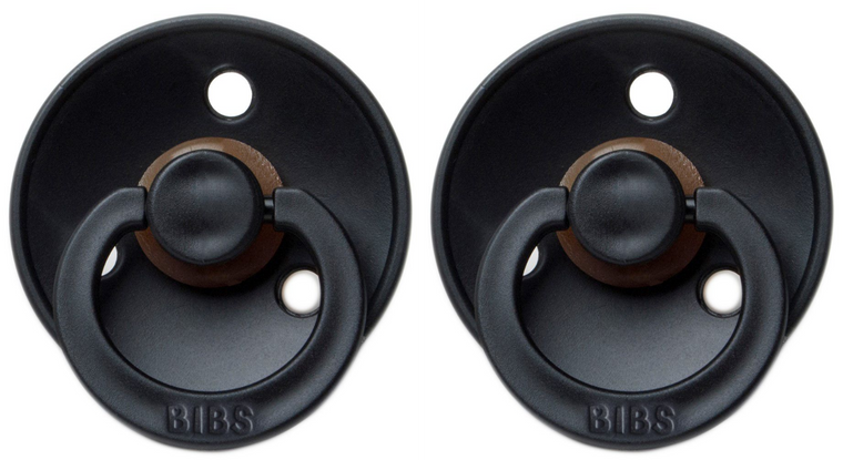 BIBS Natural Rubber Pacifier - Black/Black 2-Pack
