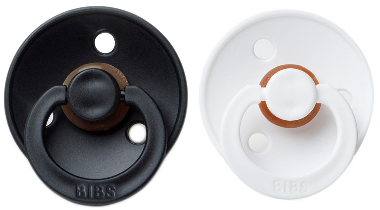 BIBS Natural Rubber Pacifier - Black/White 2-Pack