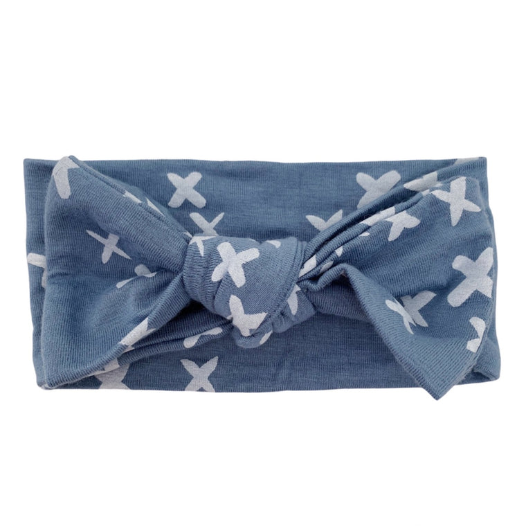 Blue Kisses Knot Headband Bow