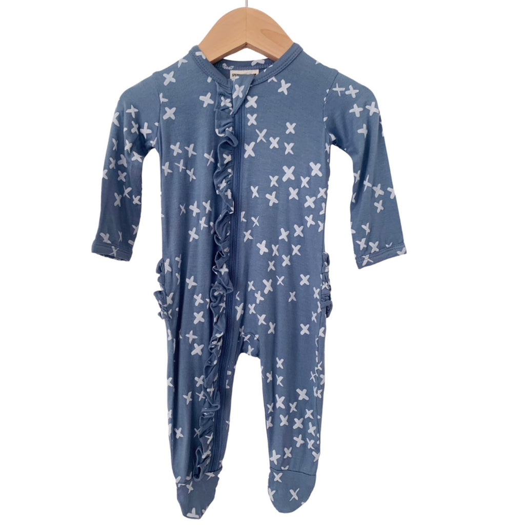 Blue Kisses Ruffle Zipper Footie