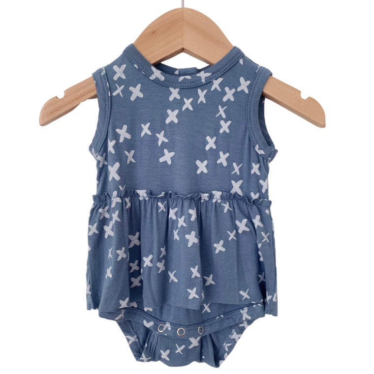 Blue Kisses Sleeveless Skirted Bodysuit