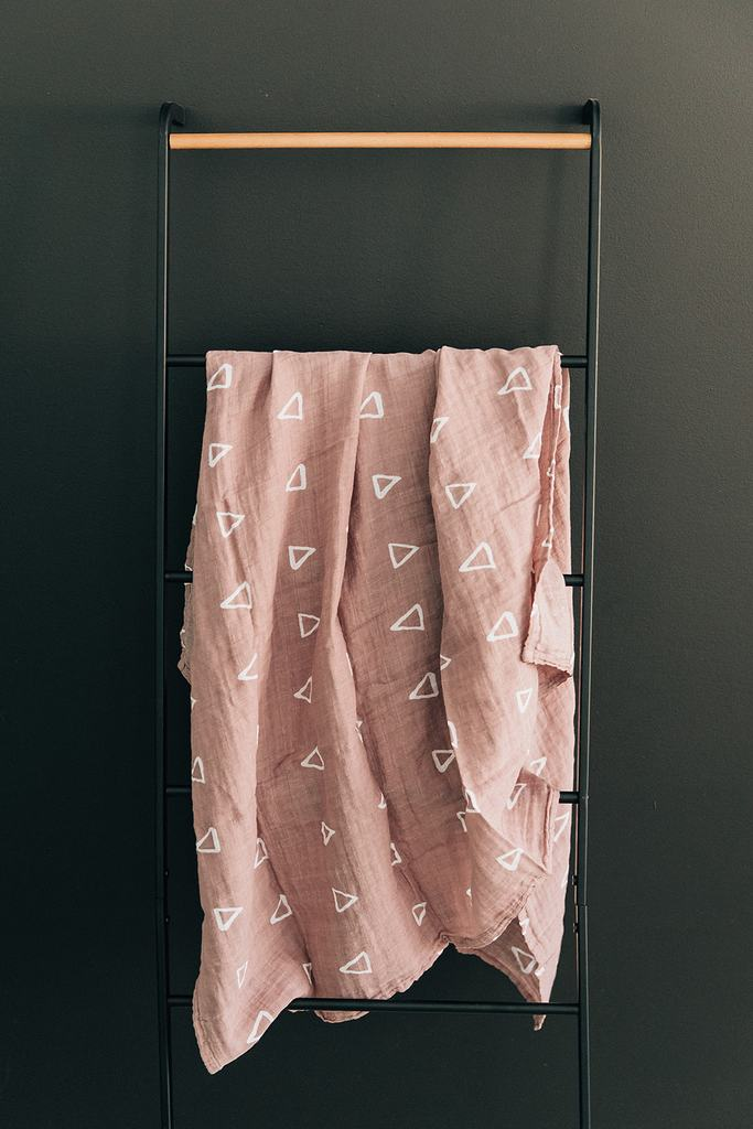 Blush Triangle Muslin Swaddle Blanket