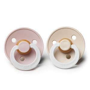 BIBS Natural Rubber Pacifier - Glow in the Dark (Blush/Vanilla 2-Pack)