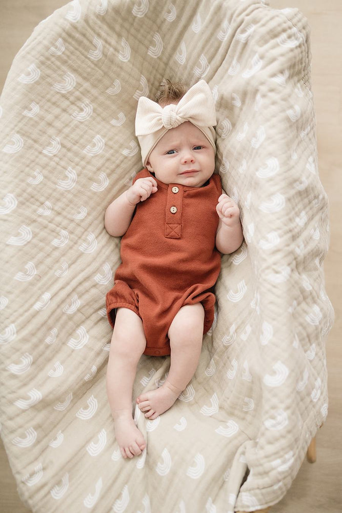 Brick Button Bubble Romper
