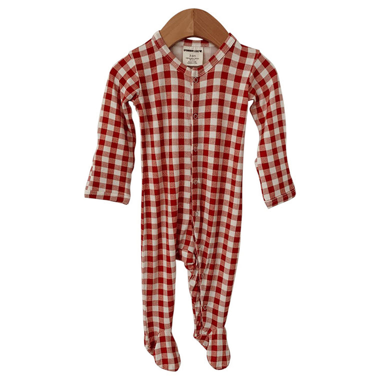 Brick Gingham Basic Snap Footie