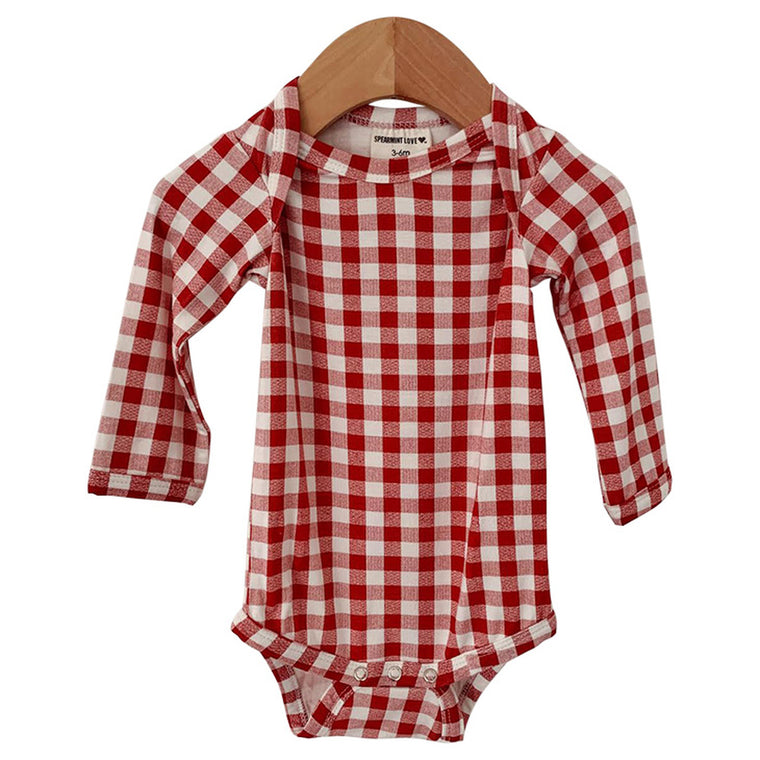 Brick Gingham Long Sleeve Bodysuit
