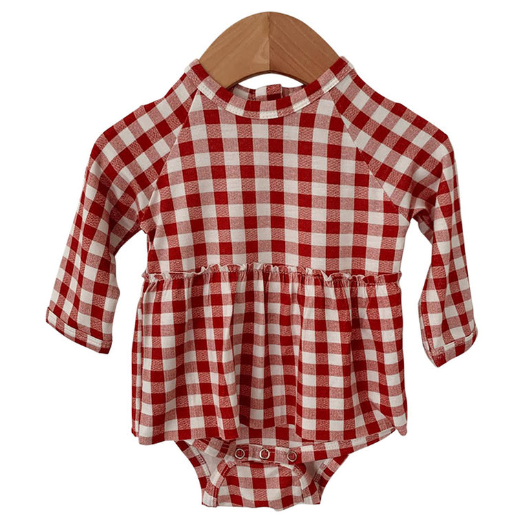 Brick Gingham Long Sleeve Skirted Bodysuit