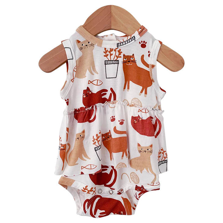 Cats Sleeveless Skirted Bodysuit