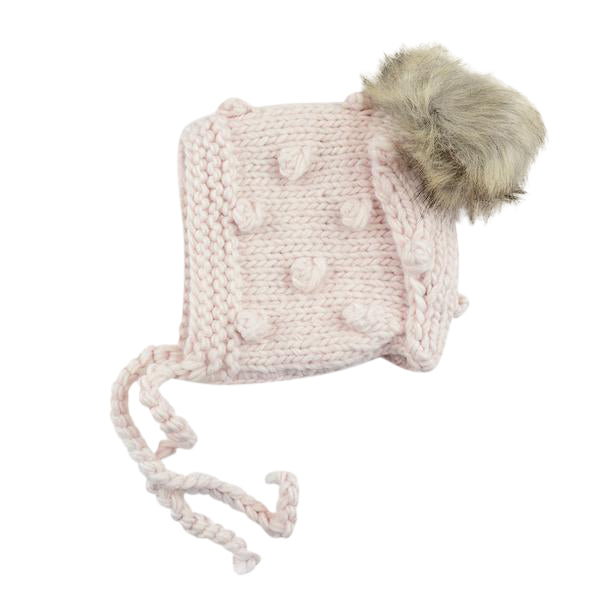 Dusty Rose Coco Bonnet with Pom