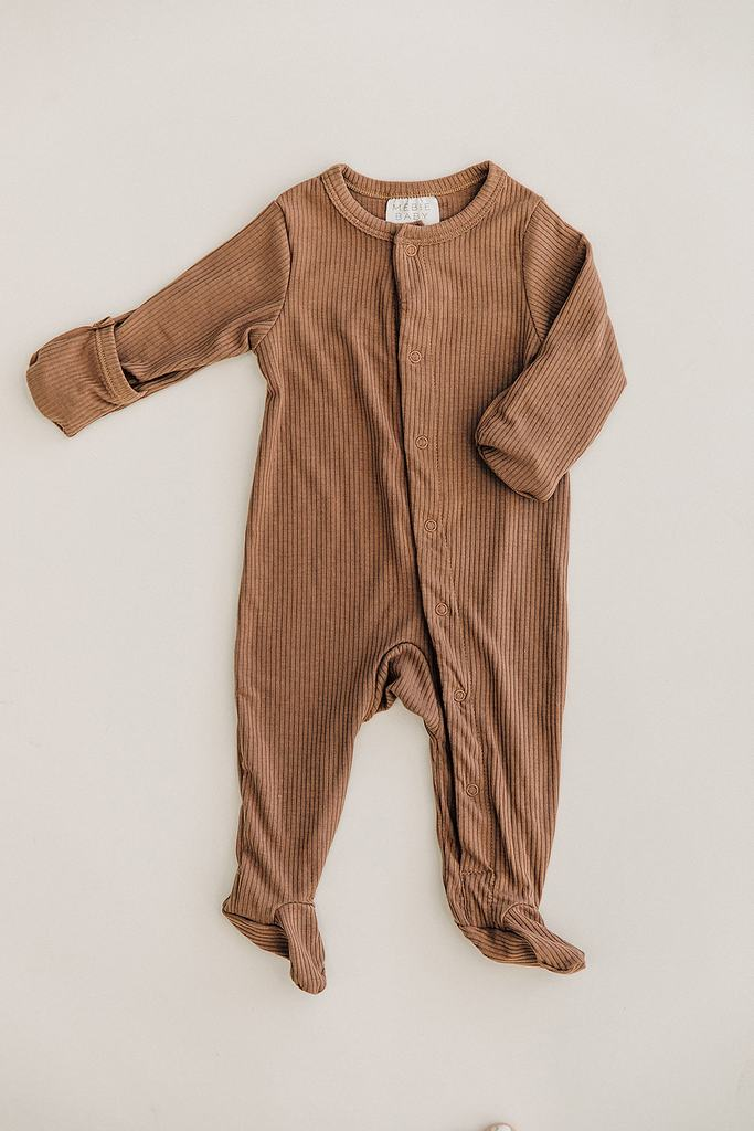 Cocoa Ribbed Footed One-piece