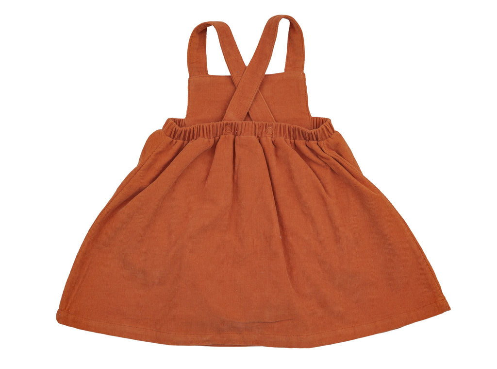 Rust Corduroy Overall Dress