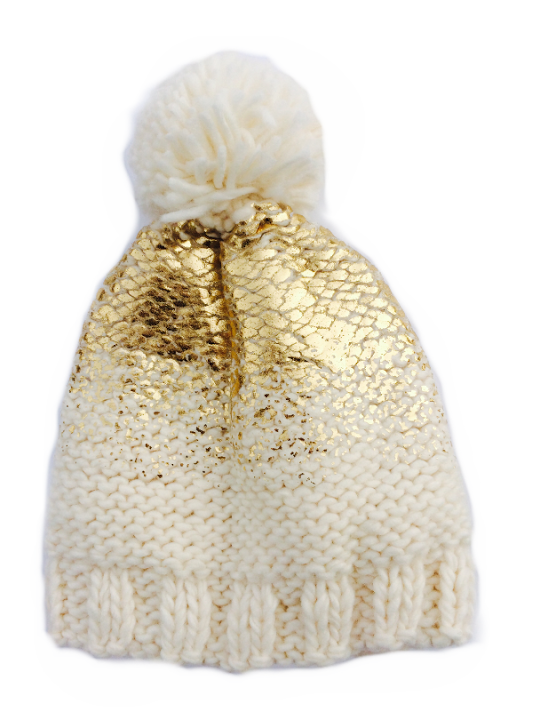 Cream and Gold Pearl Metallic Hat with Fur Pom