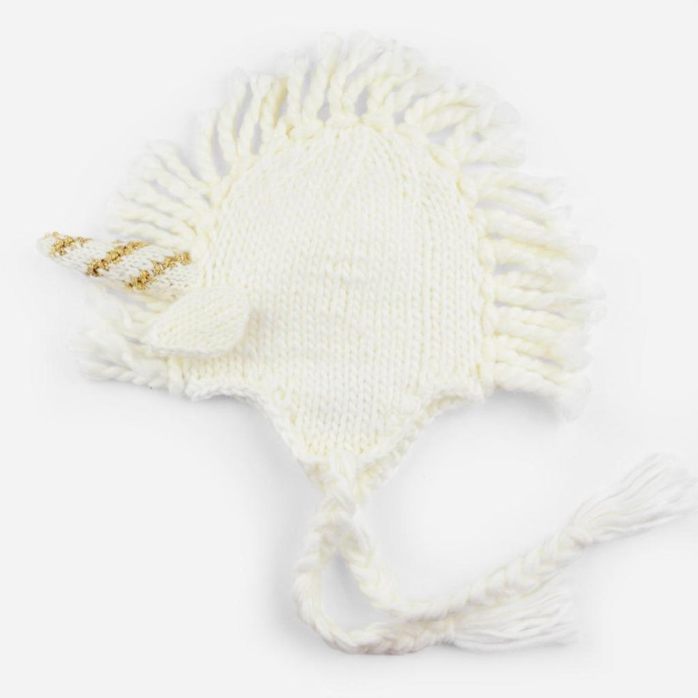 White and Gold Ella Unicorn Knit Hat