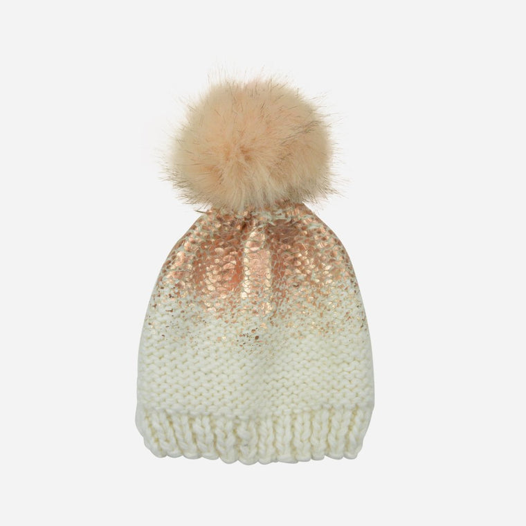 Cream and Rose Gold Pearl Metallic Hat with Fur Pom