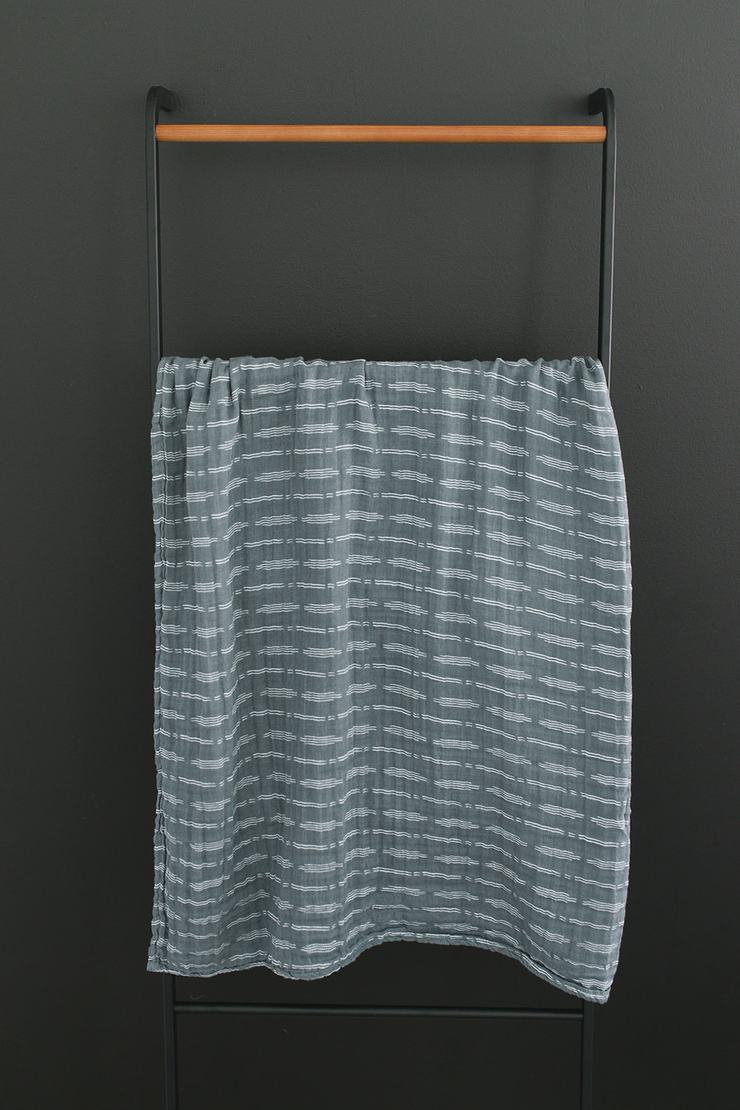 Dusty Blue Horizon Muslin Swaddle Blanket