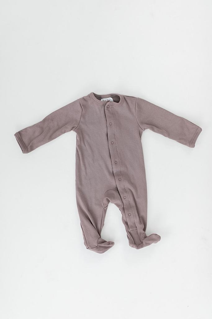Dusty Plum Ribbed Footed One-piece