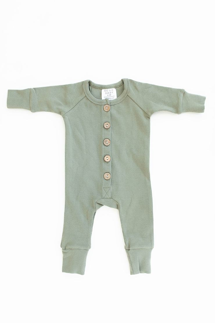 Green Ribbed Long Sleeve Button Romper