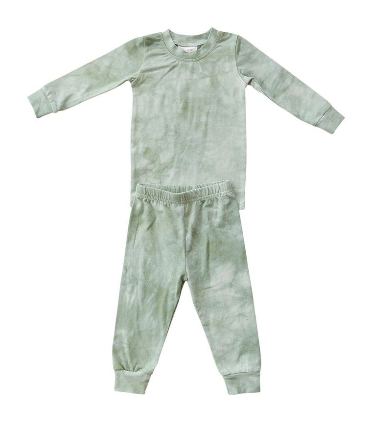 Green Tie Dye Two-Piece Cozy Set