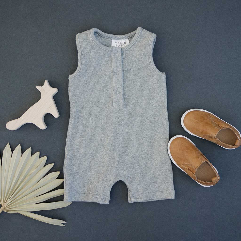 Heather Grey Ribbed Short Romper
