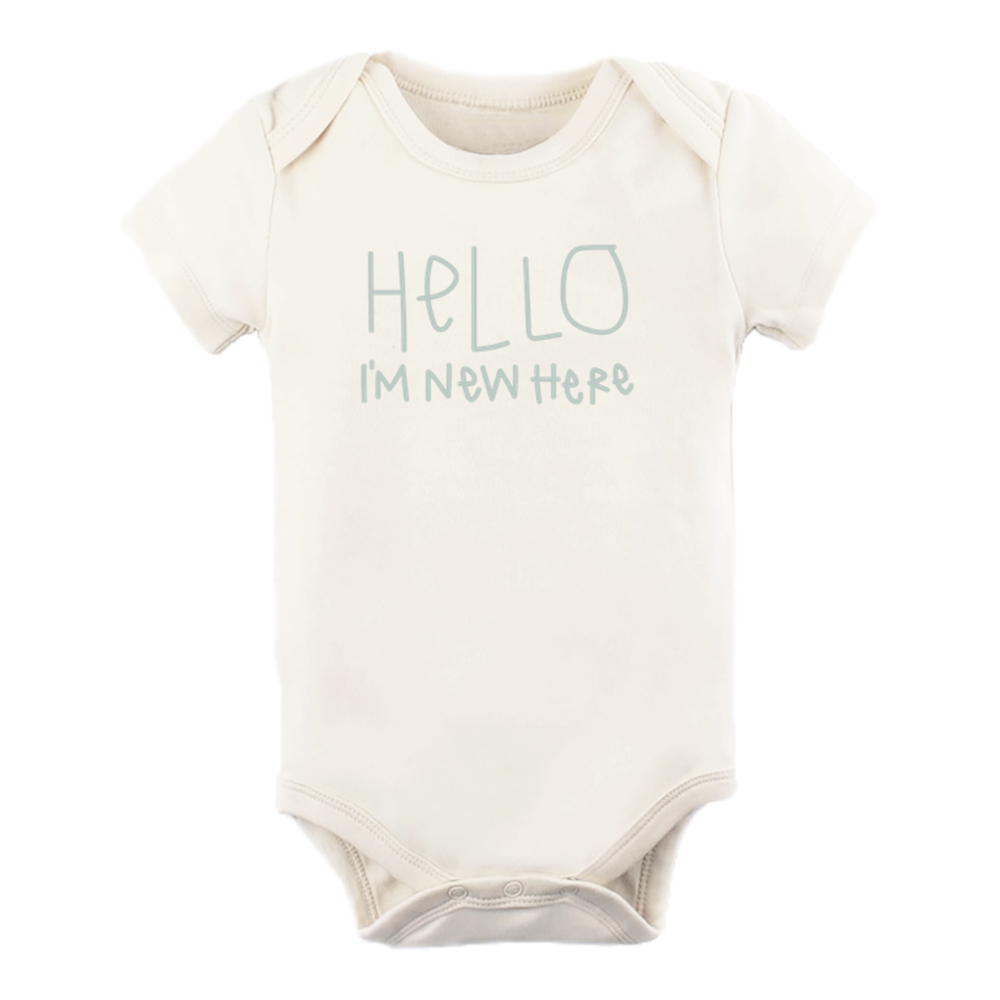 Hello I'm New Here Organic Bodysuit - Sage