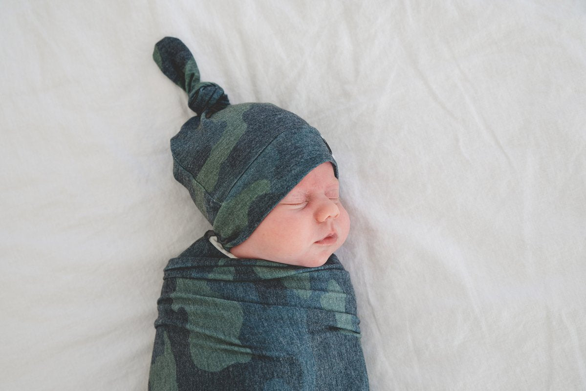 Hunter Newborn Top Knot Hat