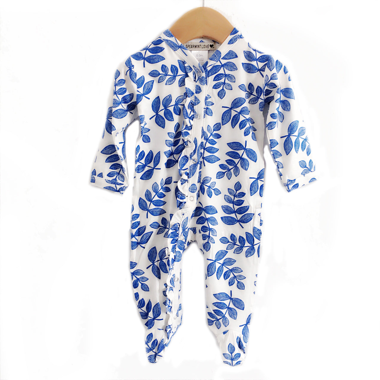 Indigo Fern Ruffle Snap Footed Romper