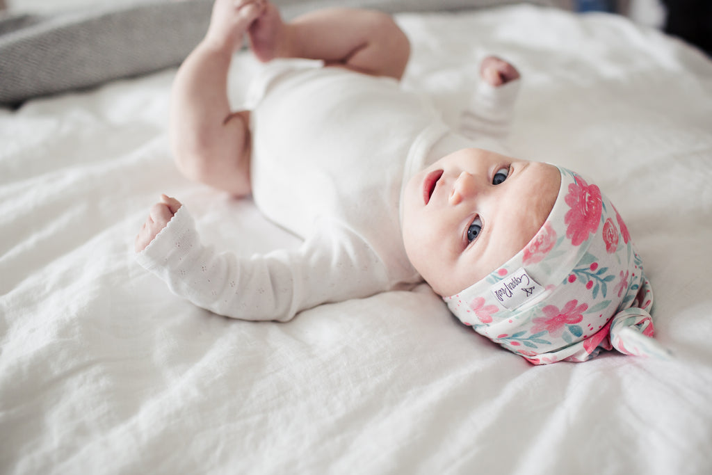 June Newborn Top Knot Hat